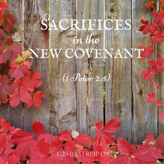 Sacrifices in the New Covenant {1 Peter 2:5} — a sermon by Reg Larkin, Grace Bible Fellowship, Bastrop TX