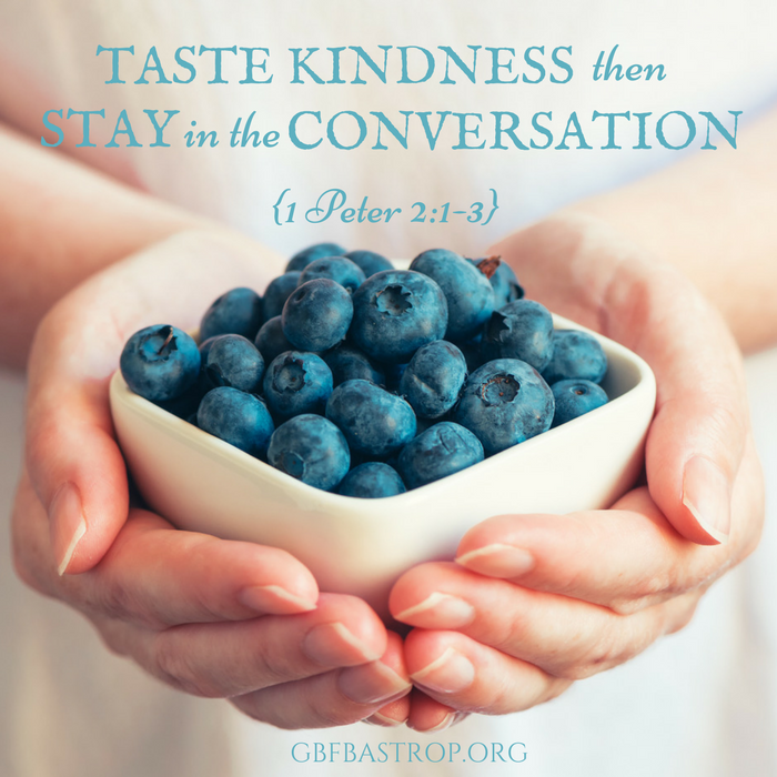 Taste Kindness, Then Stay in the Conversation {1 Peter 2:1-3} — a sermon by Reg Larkin, Grace Bible Fellowship, Bastrop TX